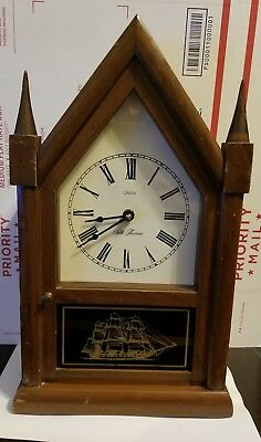 Vintage Seth Thomas Cathedral Mantel Clock Quartz Ship Wood Classic