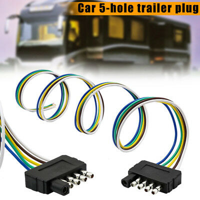 "5 Pin Flat Trailer Wire Harness Extension Connector Plug 36"" Cable End Connector"
