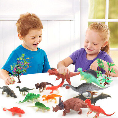 20 Piece Jumbo Dinosaur Playset Toy Animals Action Figures Set T Rex Triceratops