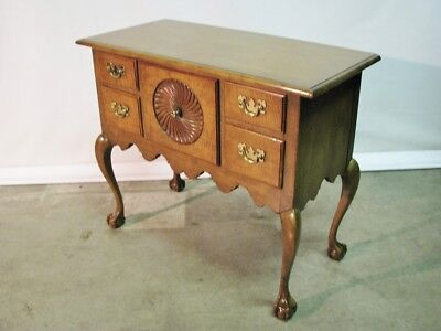 Vintage Baker Furniture Queen Anne Style Tiger Maple Lowboy; Exceptional