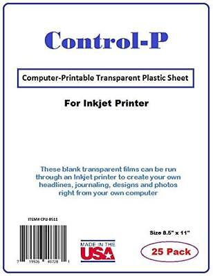 (25 Pack) Clear InkJet Transparency Film / Computer Printable Transparent