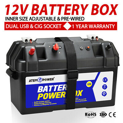 Large Camping AGM Battery Box W/ Strap Voltmeter USB Charger 12V 24V Heavy Duty