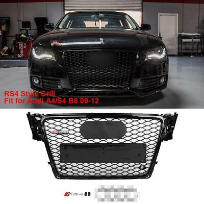 Gloss Black Sport RS4 Style Honeycomb Mesh Hex Grille For 2009-2012 Audi A4 S4 B
