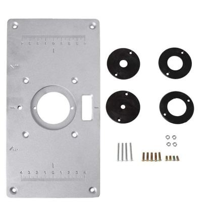 Aluminum Router Table Insert Plate w/4 Rings Screws for Woodworking Benches T9Y7