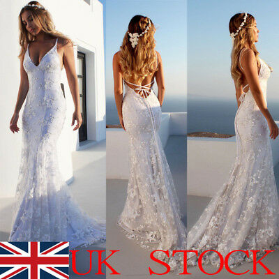 Women's Sexy Lace White Mermaid Long Evening Formal Party Wedding Backless Dress