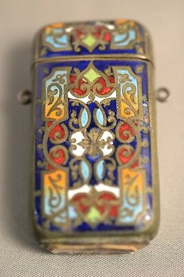 19th c. 'Au Depart' antique intaglio match case, pewter with inlaid enamel