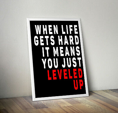 Level up print, poster, Gaming room, quote, wall art, gift, Gamer, bedroom