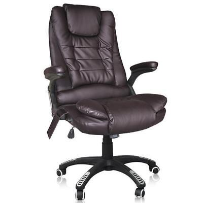 6 Point Massage Office Computer Chair Luxury Leather Swivel Reclining Brown