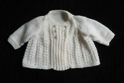 Baby clothes UNISEX BOY GIRL 3-6m white hand-knit cardigan/matinee jkt SEE SHOP!