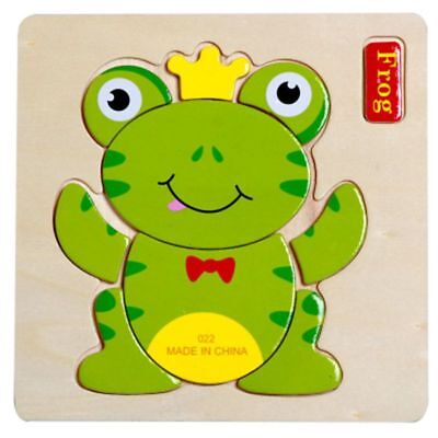 Frog Cartoon Wooden Puzzle Jigsaw Early Learning Baby Kids Training Toy Funny