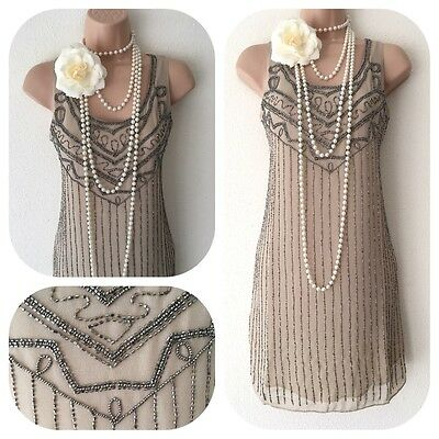 New Beaded Embellished Flapper 20's Gatsby Party Dress Tunic Christmas 10 12