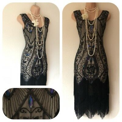 Sequin beaded Embellished Flapper 20's Gatsby Dress Cruise Long 8 10 12 14 16