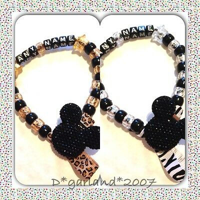 Personalised Dummy Saver Clip Bling Minnie Mickey Mouse, Zebra Leopard