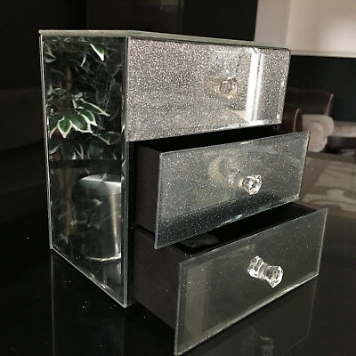 3 DRAWER Silver JEWELLERY BOX SPARKLE GLITTER MIRRORED JEWELLERY CHEST TRINKET