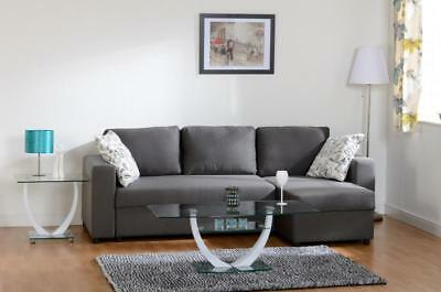 Corner Sofa Bed Dark Grey Fabric Right / Left Side With Storage, Optional Tables