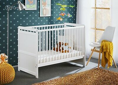 "White Pine Wood Baby Cot Junior Toddler Bed Timmy 4"" Foam Mattress 120cm x 60cm"