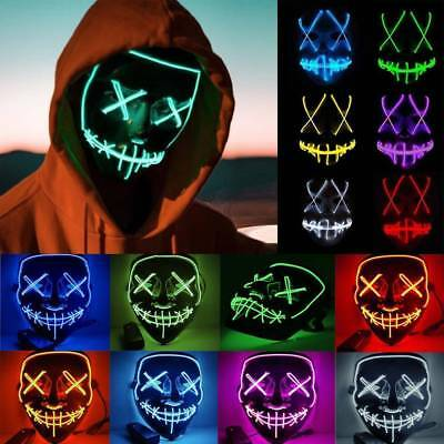 Light Up LED Smiling Stitched EL Wire Purge Mask Halloween Rave Cosplay Party AU