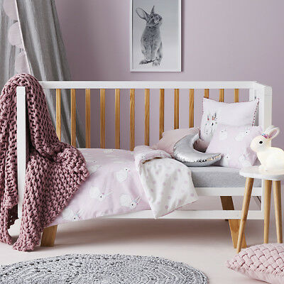 2pc ADAIRS KIDS BESSIE BUNNY PINK COT QUILT COVER SET (QUILT COVER + PILLOWCASE)