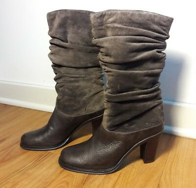6c139f80715 LANDS END BROWN Suede Leather Scrunch Boots Women s Size 6 B Mid ...