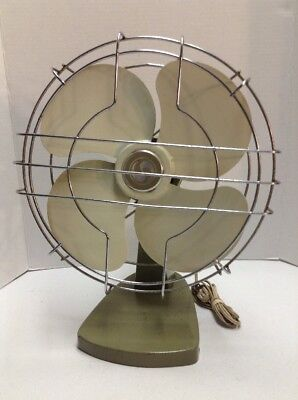 Metal Fan Superior Electric Corp USA 12 Inch Blade Green Vintage