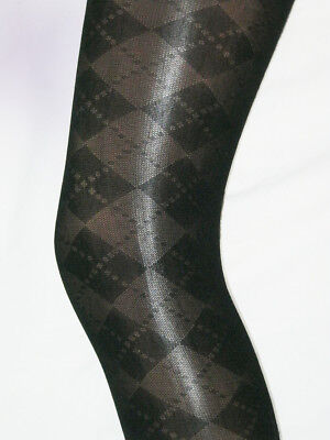 2 pairs Girls Black Argyle Tights. Age 7-9 semi opaque smart uniform patterned