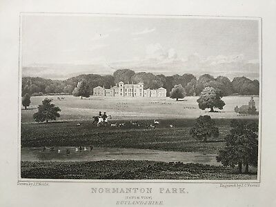 1830 Antique Print; Normanton Park, Rutlandshire after Neale