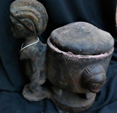 """orig $299-BAULE DIVINATION BOWL, CLAY WOOD EARLY 1900S REAL 14"""" PROV."""