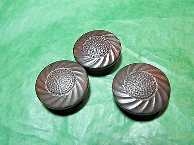 """(3) 3/4"""" Decorative Brown Vegetable Ivory? Shank Buttons Vintage Lot (Gb1081)"""