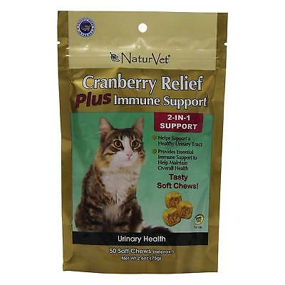 NaturVet Cat CRANBERRY PLUS IMMUNE SUPPORT for Urinary Tract Health 50 Soft Chew