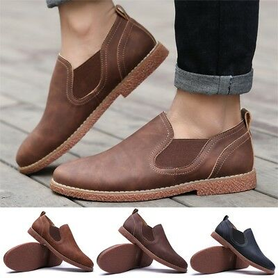 Mens Driving Leather Shoes Flats Casual Cowhide Moccasins Slip On Loafers Shoes
