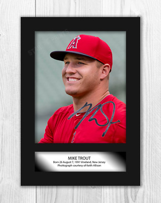 Mike Trout (1) Los Angeles Angels A4 signed mounted poster. Choice of frame.
