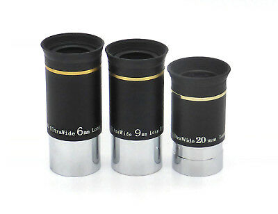 Ascension 66° Wide Angle 6mm, 9mm & 20mm FMC Eyepieces - Set of 3 (UK)