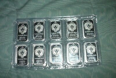"""10 Troy ounces of Scottsdale Mint Silver Bars """"The One"""" New in original plastic"""