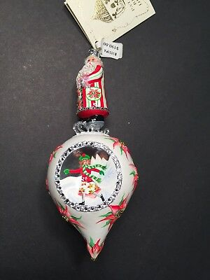Patricia Breen bejeweled ornament SANTA ON SKATES Poinsettias INDENTED NWT