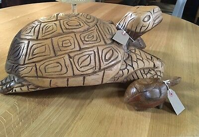 A Pair Of Vintage Hand Carved Solid Wooden Tortoises