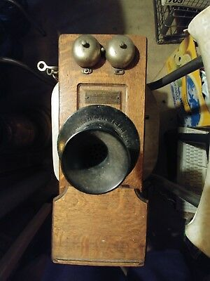Antique Julius Andrae & Sons Hand Crank Wall Telephone Phone