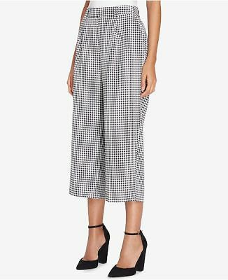 $185 Tahari Asl Women'S Black White Cropped Wide-Leg Midi Pants Size 2p