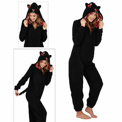 Loungeable Womens 3D Scotty Dog Hooded All In One Ladies Soft Winter Nightwear