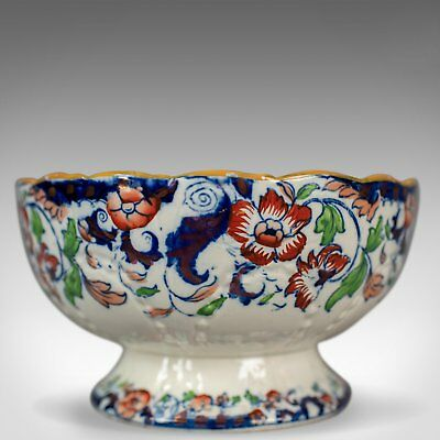Antique Footed Bowl, Blue, White and Ochre, Ironstone, Fruit Circa 1900
