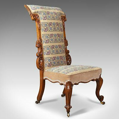 Antique Prie Dieu Chair, Early Victorian, Walnut Needlepoint Tapestry Seat c1840