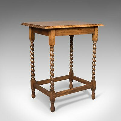 Antique Side Table, English, Edwardian, Oak, Stretcher, Circa 1910