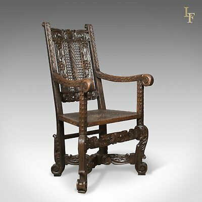 Antique Armchair, Victorian Carved Side, Hall, Bergere, English, Oak, Circa 1880