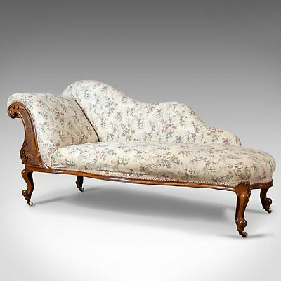 Antique Chaise Longue, English, Late Regency Day Bed, Walnut, Circa 1830