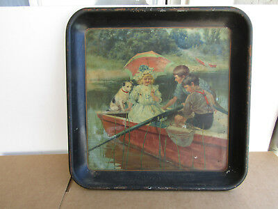 THE CITY COUSIN by CARL HIRSCHBERG CHARMING SERVING TRAY  EARLY 1900s
