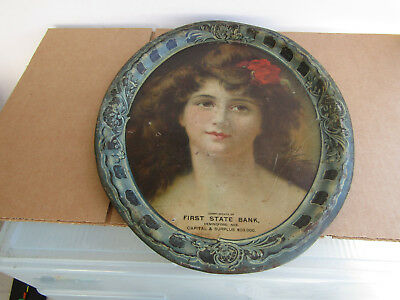 FIRST STATE BANK HEMINGFORD, NEBRASKA COMPLIMENTARY SERVING TRAY EARLY 1900s