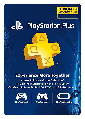 Sony PlayStation Plus 3 Month Membership Subscription Card (USA Region) -Instant