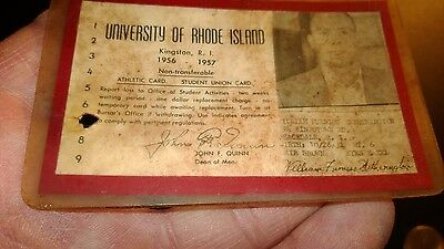 """Vintage """"UNIVERSITY of RHODE ISLAND""""1956-57,Student Union Picture ID Card"""