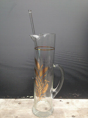 Vintage Very Tall Gold Wheat Glass Martini Cocktail Bar Pitcher W/ Glass Stirrer