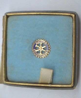 Vintage 10K 10ct Yellow Gold, Blue Enamel Rotary International Service Lapel Pin
