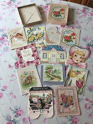 Vintage 1940's UNUSED All Occasion GREETING CARDS IN BOX Assorted EMBELLISHED